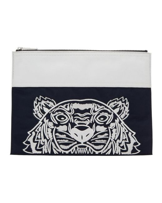 Pochette contrastee bleu marine et blanche Tiger edition limitee KENZO pour homme en coloris Blue