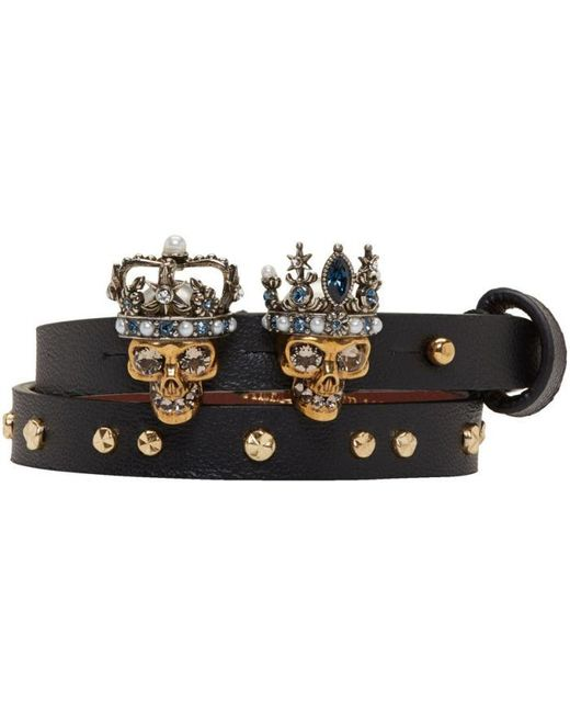 Alexander McQueen | Black And Gold Queen And King Double Wrap Bracelet | Lyst