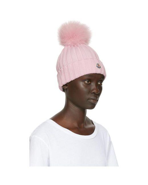 8f9ca29fbd56c4 ... Moncler - Pink Fur Rib Pom Pom Beanie - Lyst ...