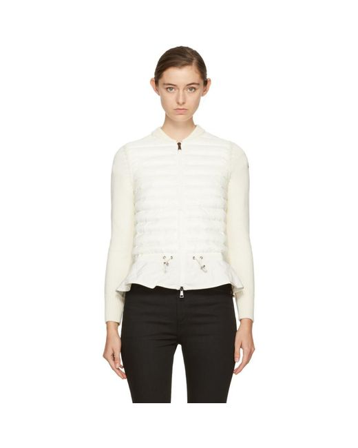 Moncler - Off-white Down Knit Peplum Jacket - Lyst