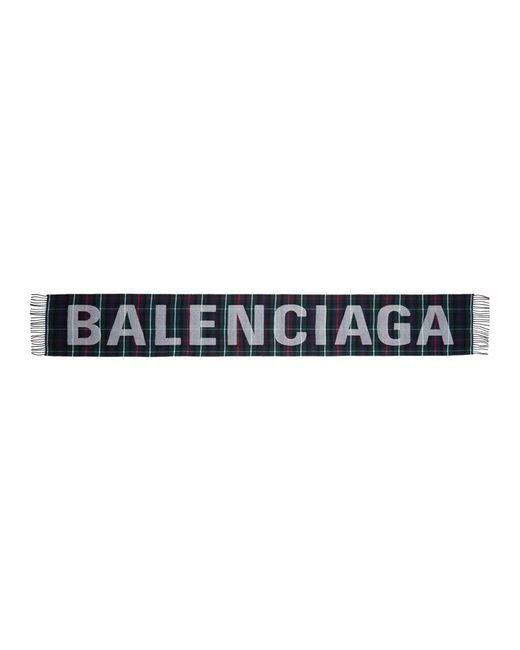 Balenciaga - Multicolor Tartan Logo Scarf - Lyst