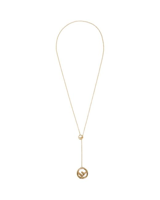 Fendi - Metallic Gold F Is Necklace - Lyst