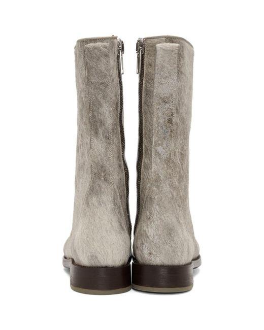 Rick Owens Off-White & Brown Calf-Hair Cop Zip Boots jZD8vw