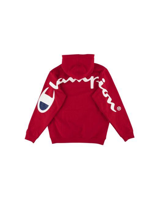 Supreme - Red Champion Hooded Sweatshirt for Men - Lyst