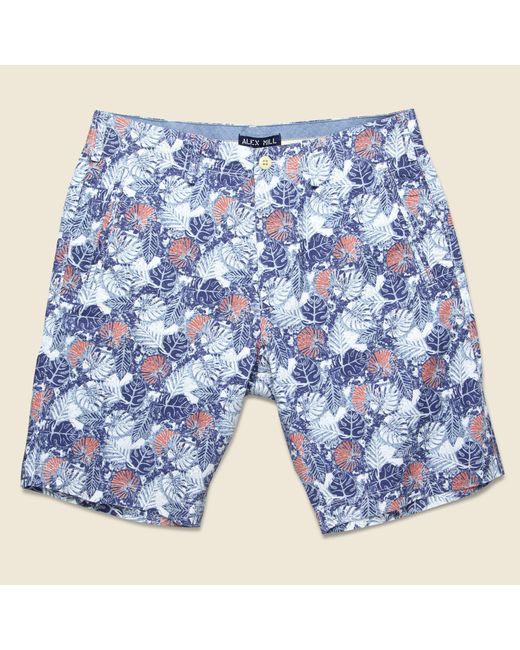 Alex Mill - Palm Leaf Galley Short - Blue/red for Men - Lyst