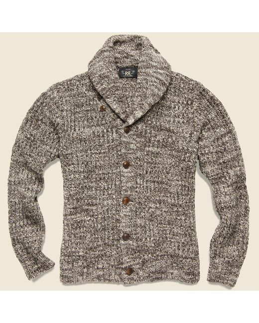 RRL - Cotton Shawl-collar Cardigan - Brown Cream Marl for Men - Lyst
