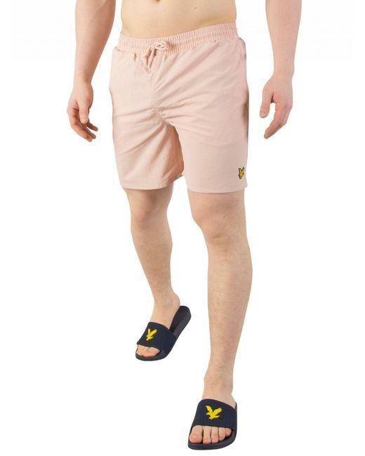Lyle & Scott - Dusty Pink Plain Swim Shorts for Men - Lyst