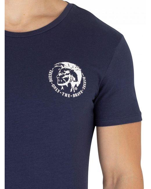 5a929fbc Lyst - DIESEL Black/navy/white 3 Pack Crew T-shirt in Black for Men