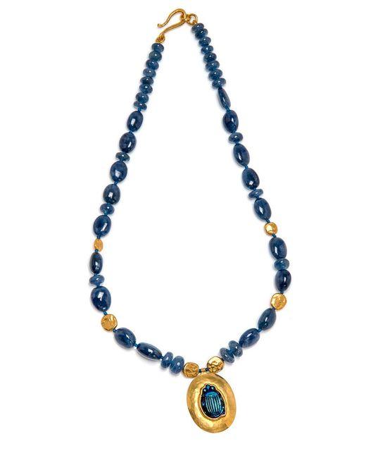 Darlene De Sedle - Blue Sapphire Bead Necklace With Scarab Pendant - Lyst