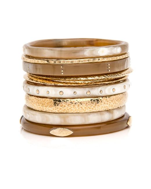 Ashley Pittman - Metallic Eneo Light Horn Bangle Set - Lyst