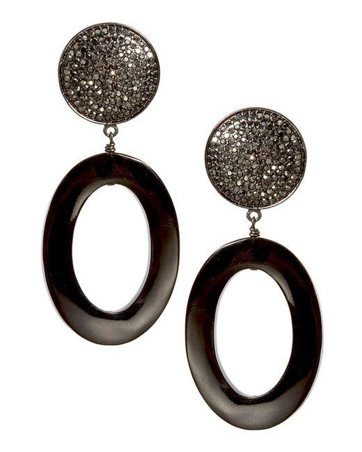Nest | Black Horn Oval Pave Drop Earrings | Lyst