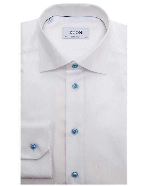 eton of sweden white twill weave dress shirt in white for
