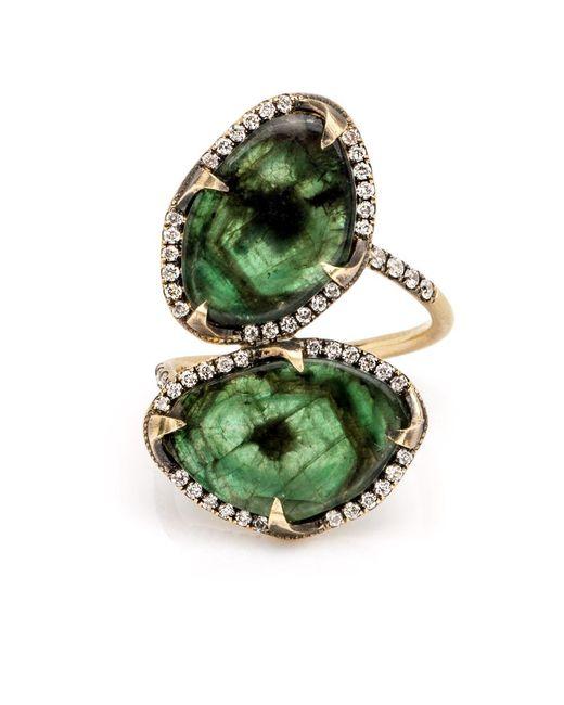 Sylva & Cie | Green Double Emerald Ring | Lyst