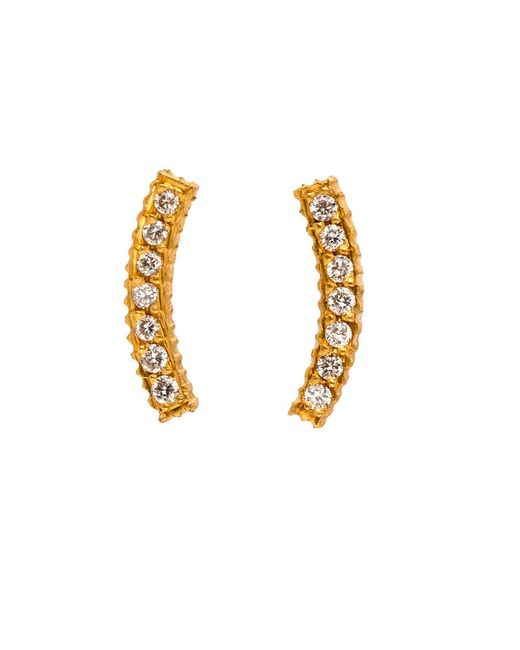 Yossi Harari | Metallic Lilah Gold Curved Diamond Pave Stud Earrings | Lyst
