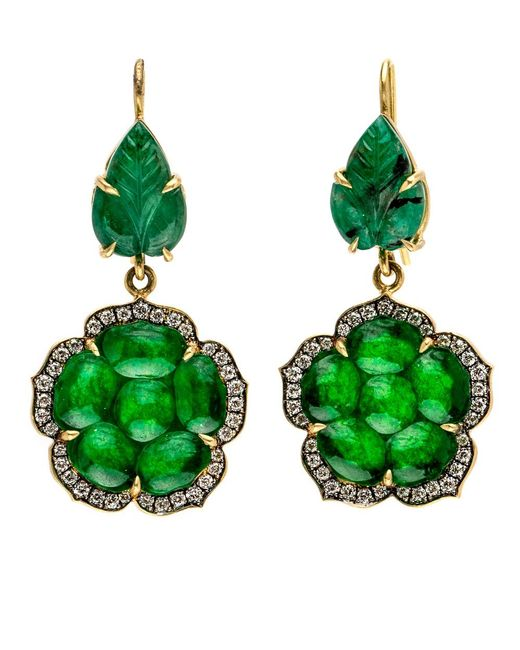 Sylva & Cie   Green Emerald And Jade Leaf Earrings   Lyst