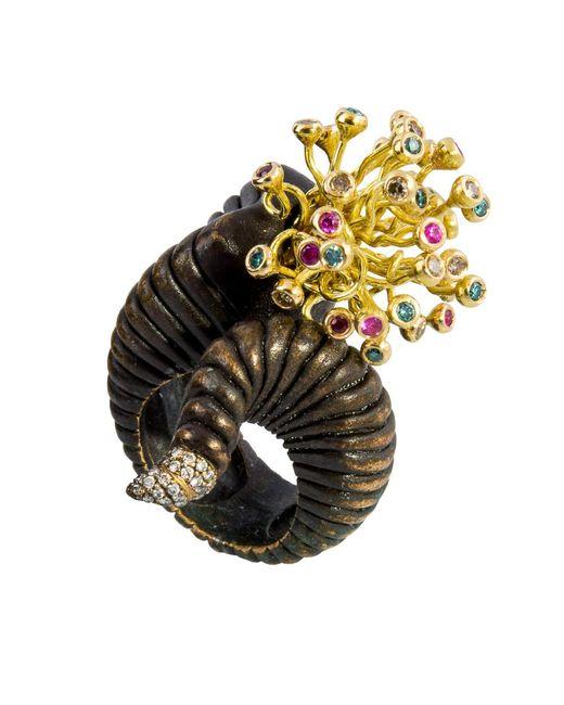 Gaelle Khouri   Metallic Veins Ring   Lyst