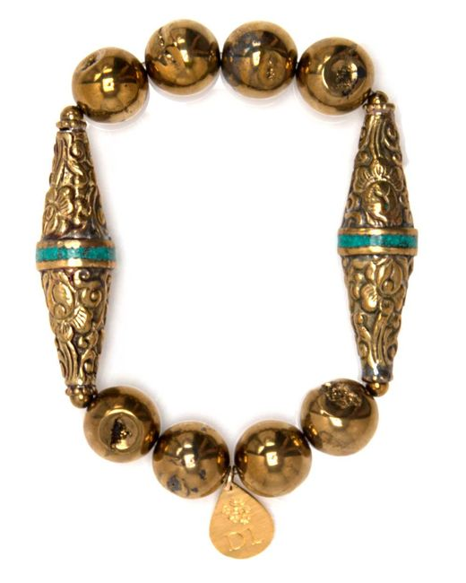 Devon Leigh | Metallic Pyrite Beaded Bracelet With Flourished Bicones | Lyst