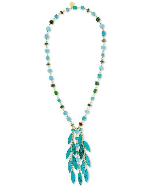 Devon Leigh | Blue Turquoise Mix Beaded Fringe Pendant Necklace | Lyst