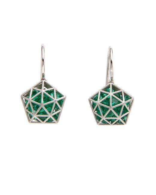 Roule & Co.   Green Brilliant Cut Emerald Pentagon Shaker Earrings   Lyst