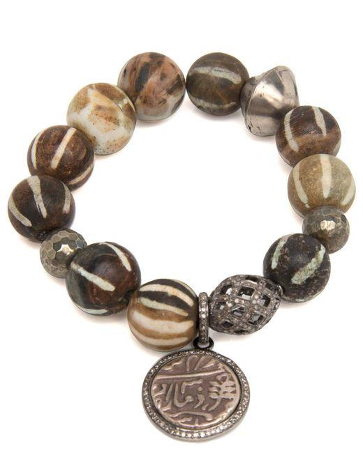 Hannah Ferguson | Multicolor African Wooden Bead Bracelet With Coin Charm | Lyst
