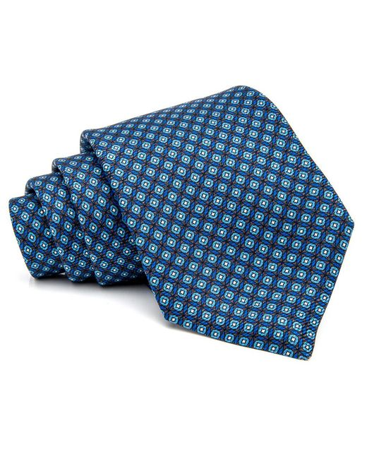 Kiton | Blue And Charcoal With Aqua Micro Medallion Tie for Men | Lyst