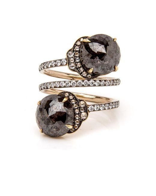 Sylva & Cie - Metallic Rough Cut Diamond Spiral Ring - Lyst