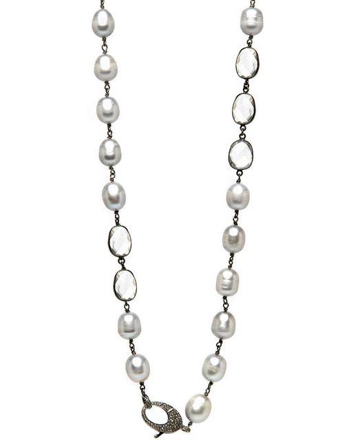 Hannah Ferguson - Gray Grey Pearls Quartz Wire Necklace - Lyst