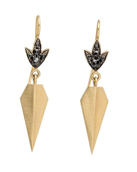 Sylva & Cie - Small Shield Black Diamond Earrings - Lyst
