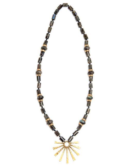 Nest | Metallic Labradorite And Gold Bead Necklace | Lyst