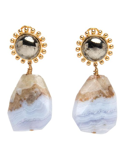 Nest - Blue Lace Agate And Pyrite Drop Earrings - Lyst