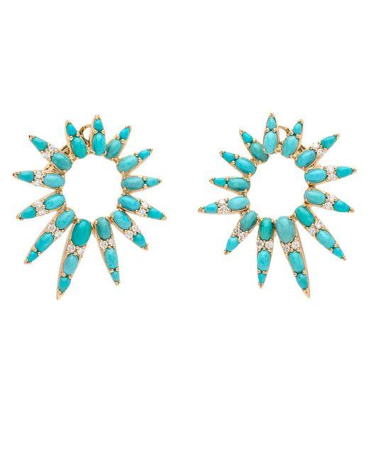Nikos Koulis | Blue Turquoise And Diamond Starburst Earrings | Lyst