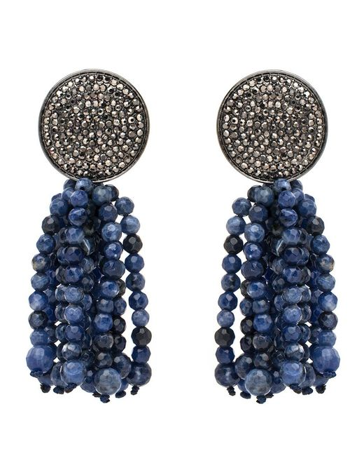 Nest - Blue Pave Disk And Sodalite Tassel Clip On Earrings - Lyst