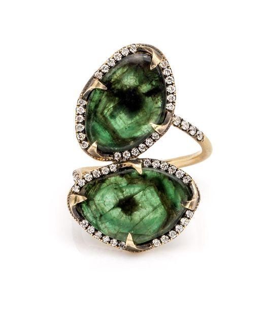 Sylva & Cie   Green Double Emerald Ring   Lyst