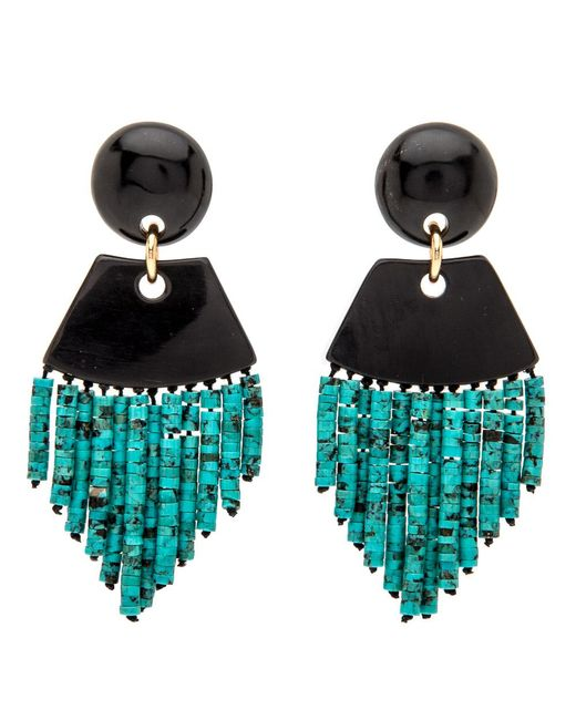 Nest - Black Horn Turquoise Fringe Earrings - Lyst