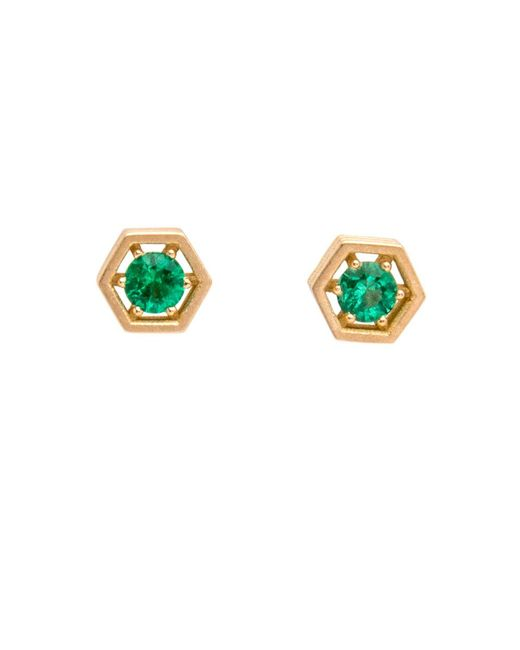 Roule & Co. | Green Emerald Hexagon Stud Earrings | Lyst