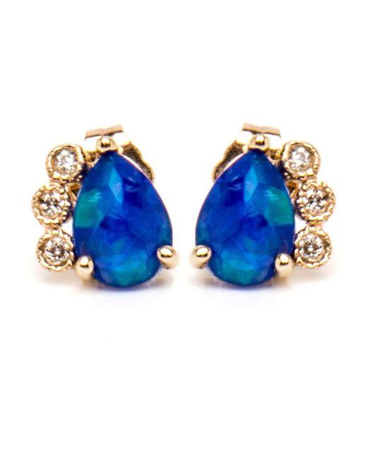 Jacquie Aiche - Diamond And Blue Opal Teardrop Studs - Lyst