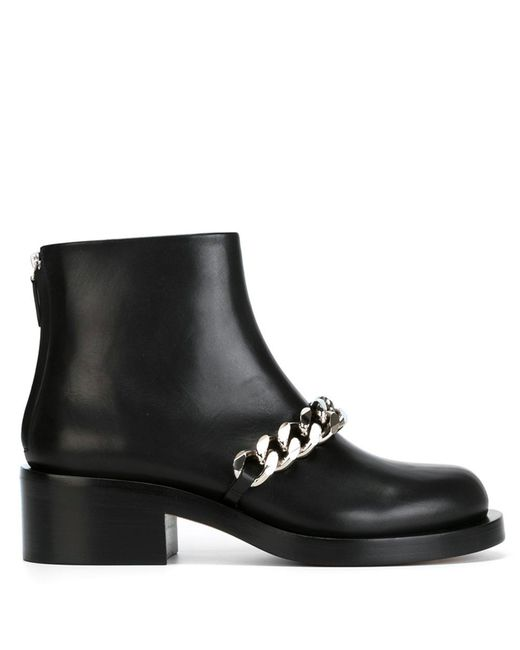 Givenchy | Black Chain Strap Ankle Boot | Lyst