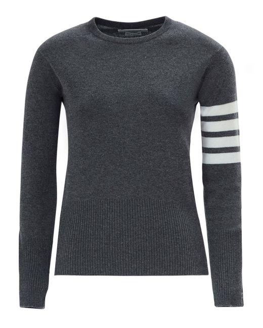 Thom Browne   Gray Stripe Sleeve Cashmere Knit   Lyst