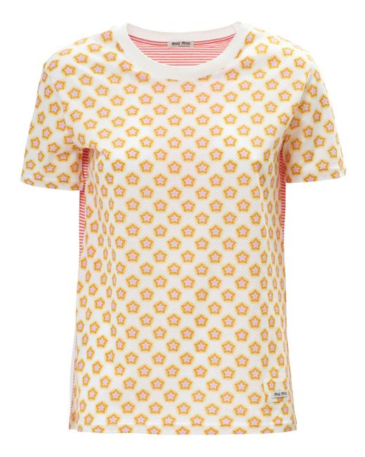 Miu miu cotton stars stripes t shirt lyst for Miu miu t shirt