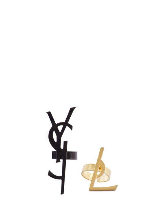 Saint Laurent | Metallic Deconstructed Logo Ring Set | Lyst