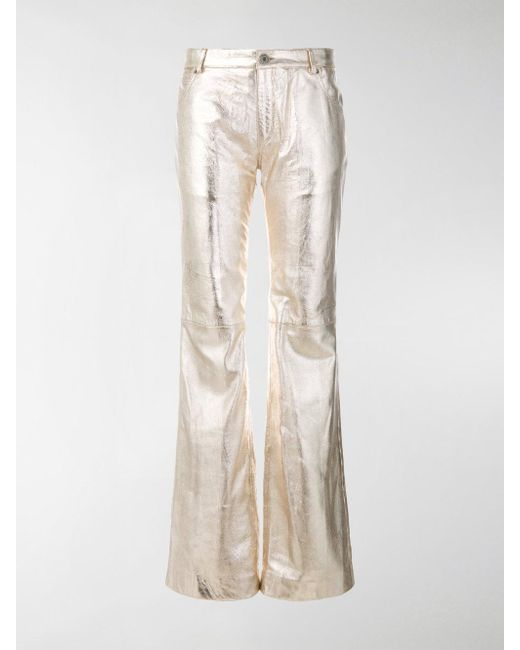 Chloé - Silver Metallic Leather Trousers - Lyst