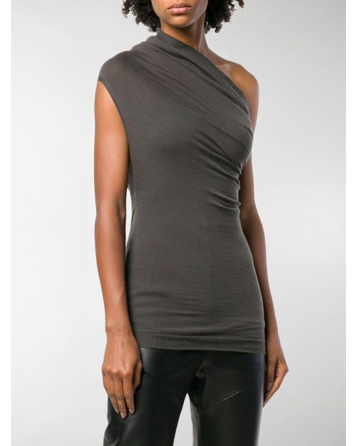 d454a6604bc8f ... Rick Owens - Gray One Shoulder Top - Lyst ...