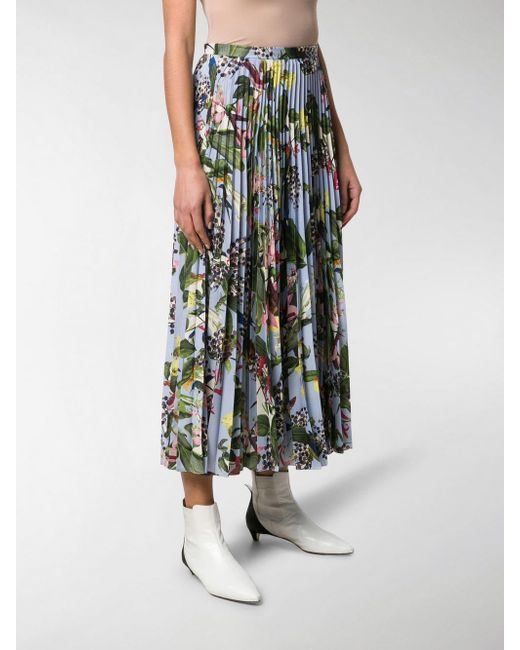 87545667f ... Erdem - Blue Floral Pleated Skirt - Lyst ...