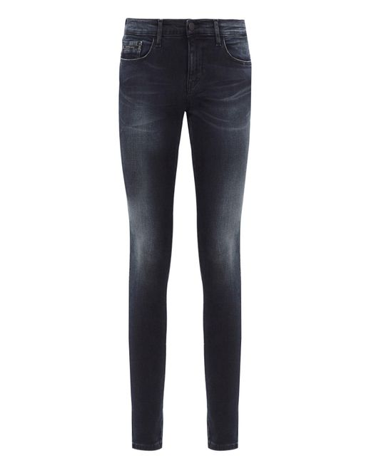 Calvin Klein Jeans | Black Mid Rise Skinny Jeans With Embroidered Trims | Lyst