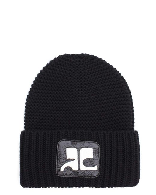 Courreges   Black Logo Merino Wool Beanie for Men   Lyst