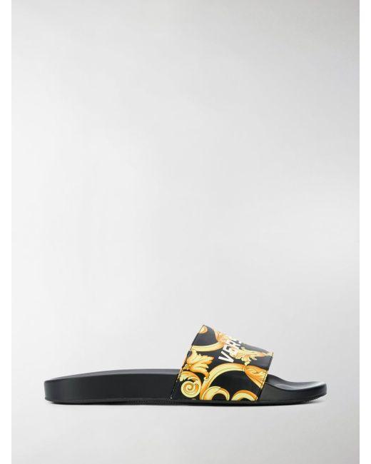 9750bdcce6e0 ... Versace - Box Logo Baroque Sliders Black gold white for Men - Lyst ...