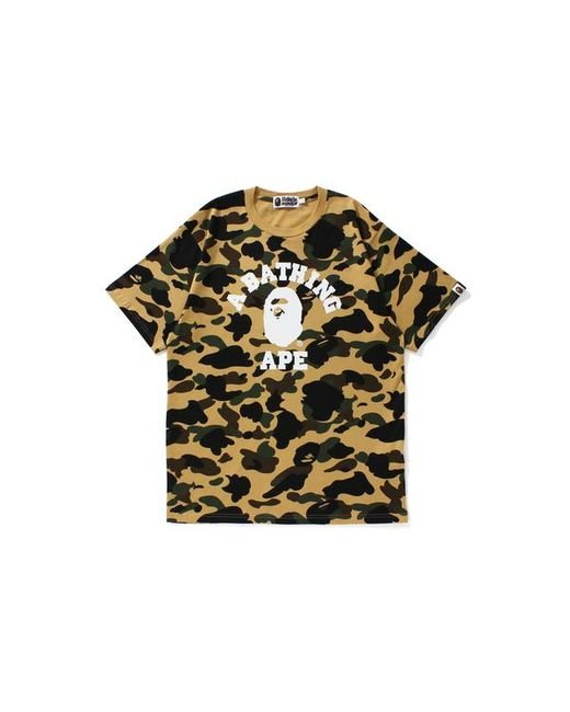 44e87112be00 Lyst - A Bathing Ape 1st Camo College Tee Yellow Camo in Yellow for ...