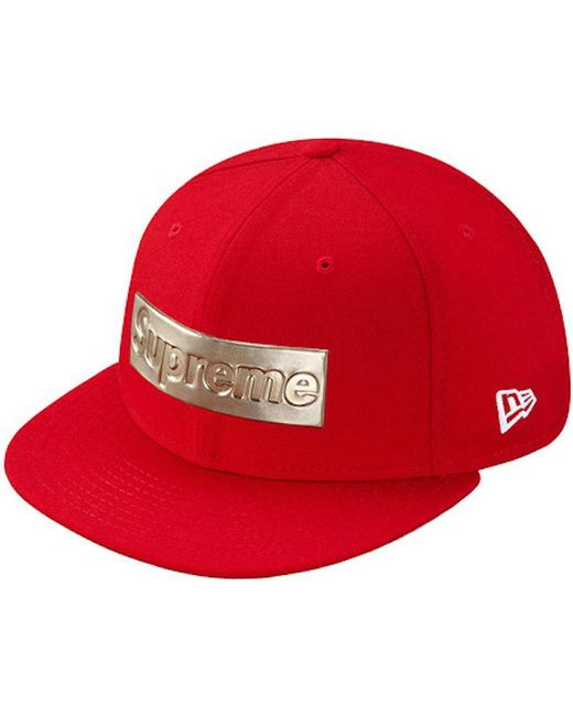 b88699bd99018 Supreme Metallic Box Logo New Era Hat Red in Red for Men - Lyst