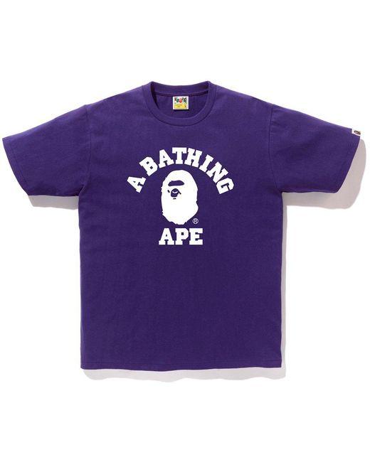 56f0854b Lyst - A Bathing Ape Bicolor College Tee Purple in Purple for Men