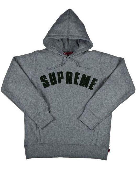 39b59b4d Supreme Chenille Arc Logo Hooded Sweatshirt Grey in Gray for Men - Lyst
